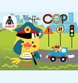 funny traffic cop cartoon vector image