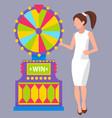girl wearing white dress spinning roulette wheel vector image