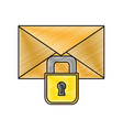 grated letter text message with padlock security vector image vector image