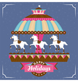 Greeting card with merry-go-round vector image vector image