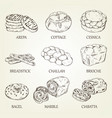 hand-drawing collection bakery products vector image vector image