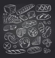 hand drawn contoured bakery elements on vector image vector image