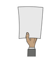 hand with blank paper vector image