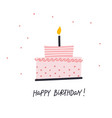 happy birthday cake lettering card vector image