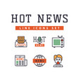 hot news icons flat style colorful set websites vector image