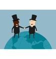 international business handshake on earth vector image