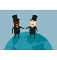 International business handshake on the earth vector image vector image