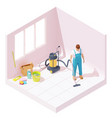 isometric house cleaning after renovation vector image