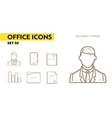 Line icons with flat design elements of office vector image
