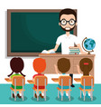 man teacher with students in the classroom vector image