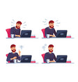 man working on laptop business character vector image vector image