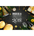 merry christmas 2018 card with black and christmas vector image