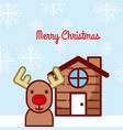 merry christmas house deer traditional celebration vector image