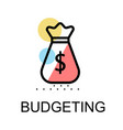 money bag icon for budgeting on white background vector image