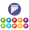 pan flute set icons vector image vector image