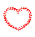 paw prints red heart frame vector image vector image