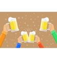 people holding beer glasses and clinking vector image vector image