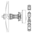 pistons and crankshaft on a white vector image vector image