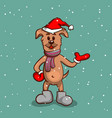 puppy in boots on snowy background vector image vector image