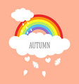 rainbow with clouds and falling leaves vector image