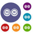 round signs yes and no icons set vector image vector image
