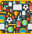 school seamless pattern with education items vector image