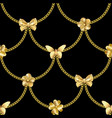 seamless pattern with gold chain and pendants vector image