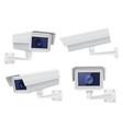 security camera set white cctv surveillance vector image vector image