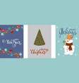 set christmas and happy new year greeting cards vector image