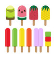 set of fruit ice cream bar in flat style vector image vector image