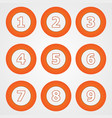 set of round numeric buttons in orange vector image vector image