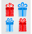 Set of stickers - red and blue gift boxes vector image