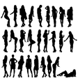 set silhouettes girls vector image