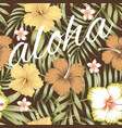 slogan aloha tropical leaves hibiscus brown vector image vector image