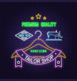 tailor shop neon design or emblem night vector image vector image