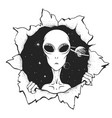 the alien looks out from hole space vector image
