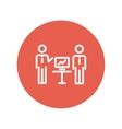 Two men and their business report thin line icon vector image