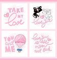 valentine cards greeting cartoon vector image vector image