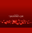 valentines day red background with 3d hearts vector image vector image