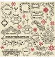 vintage holiday floral design elements