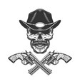 vintage monochrome mustached sheriff skull vector image vector image