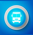 white school bus icon isolated on blue background vector image