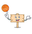 with basketball wooden board character cartoon vector image vector image