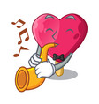 with trumpet heart shaped ice cream the cartoon vector image vector image