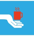 hand hold icon smartphone and cup design flat vector image
