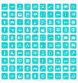 100 web and mobile icons set grunge blue vector image vector image