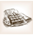 Bar of chocolate hand drawn sketch style vector image