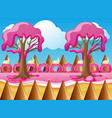candy land with strawberry cream trees vector image vector image