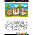 cartoon farm animals coloring page vector image