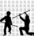 Children practicing Aikido vector image